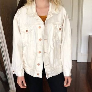 Free people white denim distressed jacket